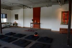 The meditation hall was designed to embrace all three traditions, and at the same time allow each sangha to focus on its own practice