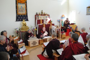 Lamas, retreatants, and guests engaged in three-year retreat ceremonies at SCOL retreat center. On the right is Lama Tsang Tsing of Eugene, Ore., and to his left, Lama Michael Conklin and Lama Tara Goforth