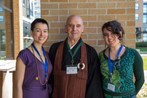 Organizers Chloë Lai, Eshin Godfrey, and Maria Trujillo, outside during the lunch break