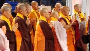 Monastics gather at the altar