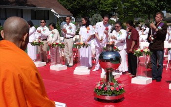 Laypeople from Seattle-area temples gathered and lit candles to celebrate International Vesak Day, May 30, at the Seattle Meditation Center in Mountlake Terrace, Washington