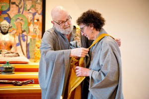 Zen Master Ji Bong gives dharma transmission to Feng, in a traditional ceremony  ceremony at Blue Heron Zen in June.