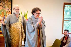 Zen Master Jeong Ji bows to those gathered