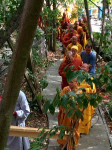 Buddhist monks from many traditions entering the plaza