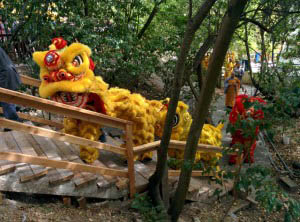 Lion dancers entering from the garden