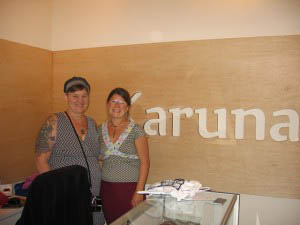 Owner Anandi Gefroh, right, and Terri Treat, left, at the grand opening. Treat owns Natural Felt, a maker of Karuna cushions