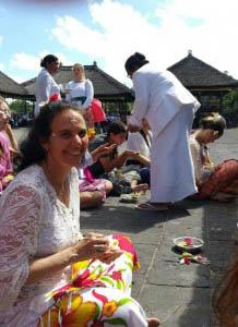 Phyllis Moses, Northwest Tara Circle Tara Dhatu teacher, attending Hindu offering ceremony at Besakih Temple, Bali