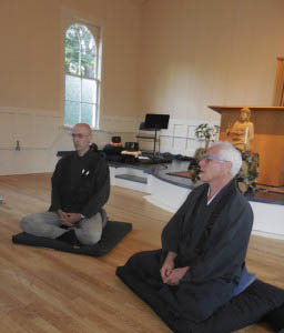 Zen center Abbot Koshin Christopher Cain, and member Van Crozier, lead a sit session in the Havurat building