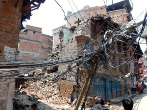 This house in Bhaktapur, one of the region's most culturally rich areas, collapsed and took the electric lines with it
