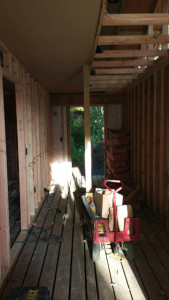 The entry, known as the mudroom, being framed