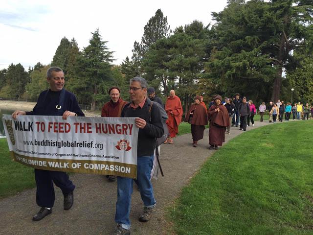The walk begins, led by Eddie Daichi Salazar