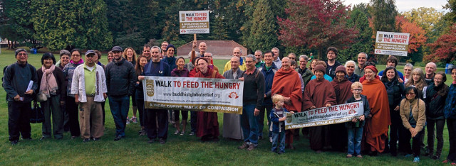 Dhamma translator Bhikkhu Bodhi, who started the international Walk to Feed the Hungry movement, came to Seattle in October to lead a group of dedicated walkers