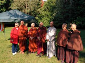 From left, Carla Prater, Ayya Anandabodhi, Ayya Jayanti, Ven. Bhikkhu Bodhi, Shifu Zhihan, Shifu Showshir and Shifu Showshao