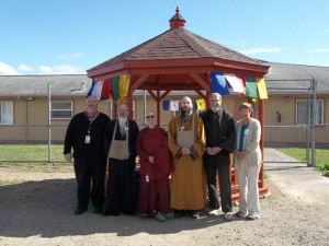 Buddhist and other religious leaders celebrated the opening of the pagoda. From left to right, SCC Chaplain Cloud, Koro Kaisan Miles, Ven. Thubten Chonyi, Fa Hsing Jeff Miles, Rowan Conrad and Peggy Conrad