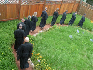 As we do in kinhin walking practice, we move forward one step at a time, in harmony with each other and with each step