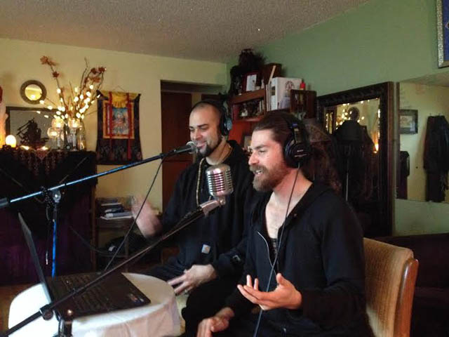 Damien Abel, left, and podcast partner Jed Ward, hosting a show