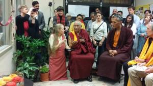 Geshe Tenzin Dorje speaks about Jim Blumenthal's karmic connections to dharma, as Katrina Brooks, former Maitripa College student, translates