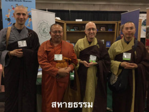 Ajhan Ritthi with monastics from the Dharma Realm Buddhist Universit y in California