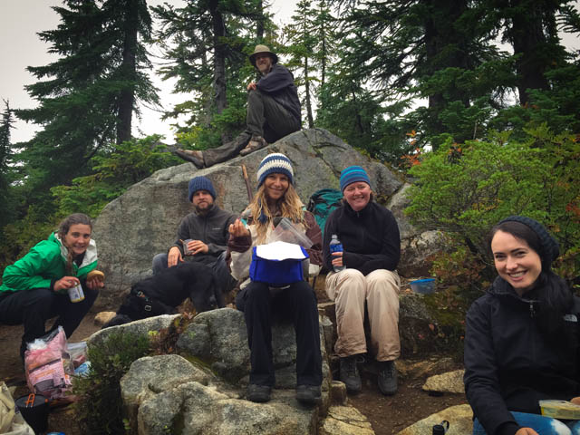 Group campsite photo at Hannegan's Pass in the North Cascades during the Wake Up backpacking retreat, August 2015. Dylan Sympson (top); left to right: Johanna Stulting, Ed Wayt, Vanessa Loucky, Jennifer Wood and Mercia Moseley