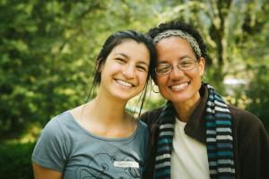 Shannon Bachtel (left) with dharma teacher Kaira Jewel (right), after attending Bachtel's first-ever meditation retreat, in September
