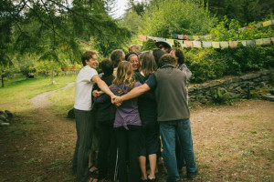 """""""Cinnamon swirl"""" hug to end the Wake Up Retreat, with dharma teacher Kaira Jewel in the center. At Mountain Lamp Community, in September"""