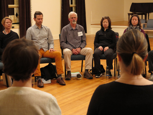 Director Kurt Hoelting leadS sitting meditation during a community Mindfulness-Based Stress Reduction (MBSR) class at Samaritan Center in Seattle