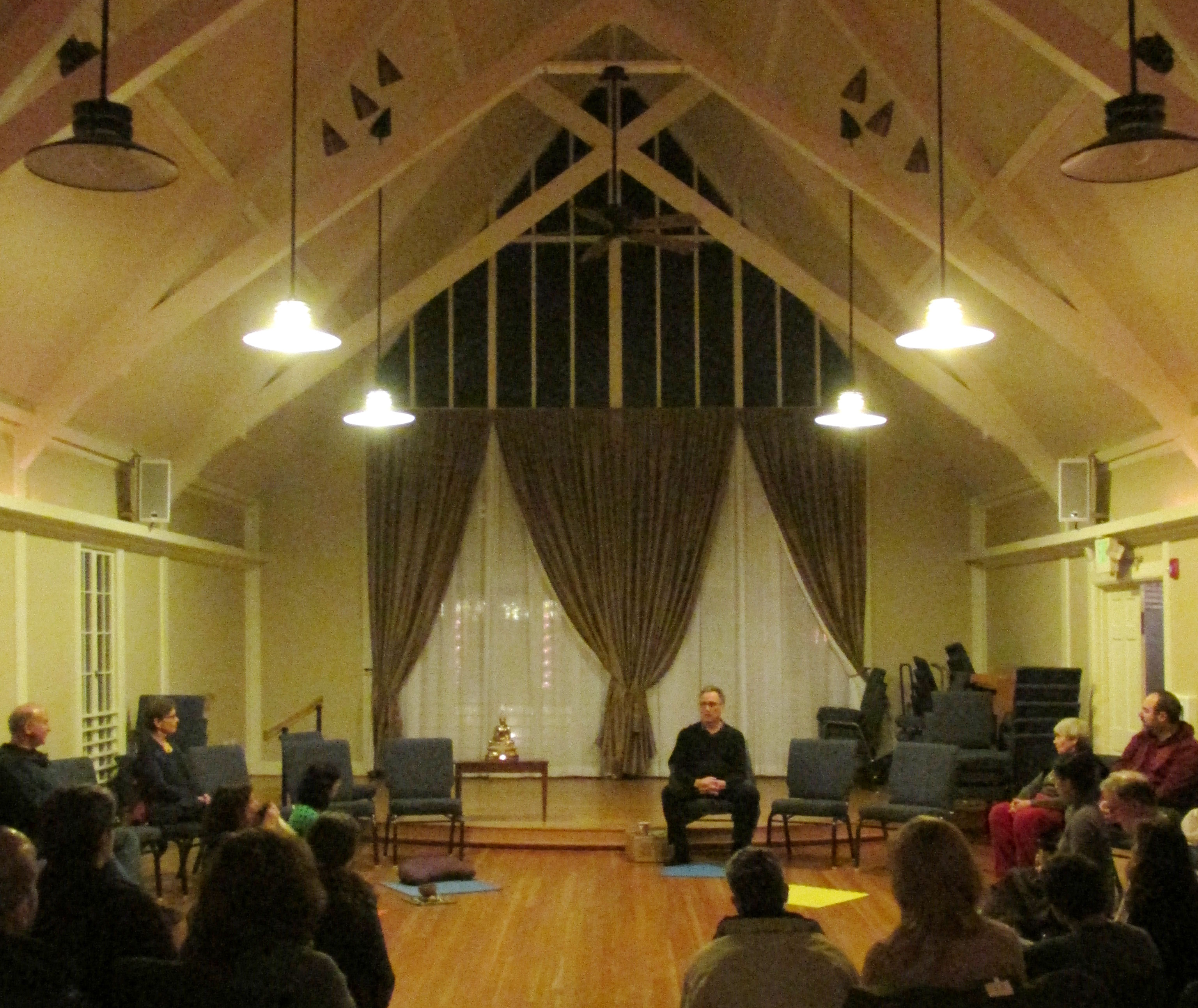 The Northlake Unitarian Church chapel, with chairs and mats drawn into a circle, makes a comfortable place to practice
