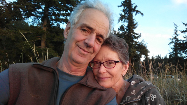 Editor Steve Wilhelm, and his wife Ellen Wilhelm, at a Salish Sea beach in northwest Washington state