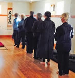 The cooks and others doing walking meditation (kinhin) in the Chobo-Ji zendo