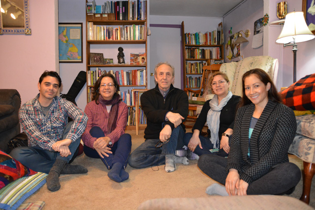 The group is now sitting primarily in Seattle, at a member's house. From left to right: Gabriela Gomez, Norma Maldonado, Severino Perez, Delia Pelaez, Rodrigo Arjona