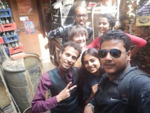 Healing Arts Nepal team takes an impromptu selfie. Front left to right, Ganesh Amgain, Manju Dulal, Binod Joshi, Susan Alotrico, Ram Pukar Mohara, and Sandhya Acharya
