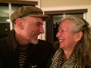 Diane Hetrick and Rick Harlan share a moment of laughter