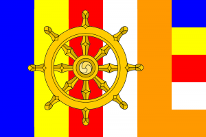 buddhist flag and wheel