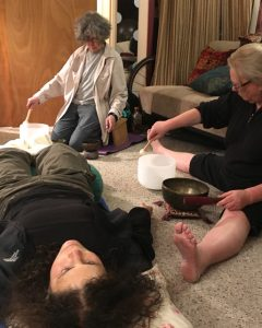 A metta healing circle after a sit, with Roz and Margaret