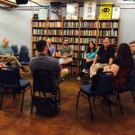 Participants in the May 7 Christian-Buddhist roundtable at Elliott Bay Books included Will Haag, Stephanie Eichentopf, George Draffan, CJ Young, Phil Peterson, Kyle Reynolds, Kathy Adams, Mark Winwood, Polly Trout, and Paul Metzger