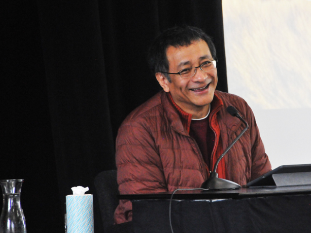 """Ponlop Rinpoche laughs as he teaches on his new book, """"Emotional Rescue,"""" during a recent weekend event at Nalanda West in Seattle"""