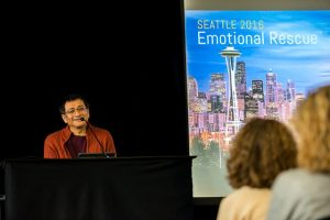 """Ponlop Rinpoche's """"Emotional Rescue"""" teachings were illustrated with an often-amusing series of projected images"""