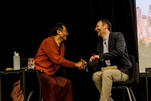 Ponlop Rinpoche and Brad Lichtenstein, a Bastyr University professor and a naturopathic physician, shared a Q&A near the end of the Friday night public talk. (Brad asked, Rinpoche answered.)