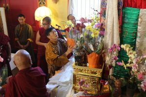 H.E. Dhungsey Minzu Sakya offering to the Thudkam of his father