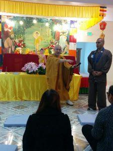Imanaka Taijo Sensei and Riaz Khan of Seattle Koyasan Temple leading an energetic AH chanting meditation