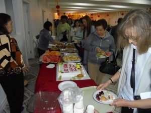 People line up for wonderful snacks after the ceremonies