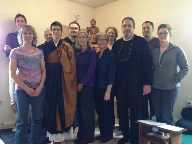 After Sunday zazen and service. Front row from left to right: Cindy Bonney, Genmyo Jana Zeedyk, Resident Teacher, Judy Saha, Ronn Rasmussen and Traci Webb. Back row left to right: John Moriarty, Ralph Jordan, Matthew Rasmussen, Kirby Kauffman and Todd Blessing.