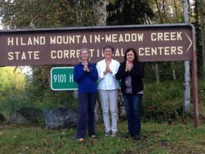 Three of the four Anchorage Zen Community volunteers at Hiland Mountain State Correctional Center, a women's facility in Eagle River, Alaska. From left to right: Cindy Schraer, Judith Ashley Haggar and Rita Eagle. Not pictured: Kirby Kauffman