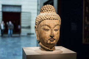 This head of the Buddha, from the early 8<sup>th</sup> century, was made in China of limestone.