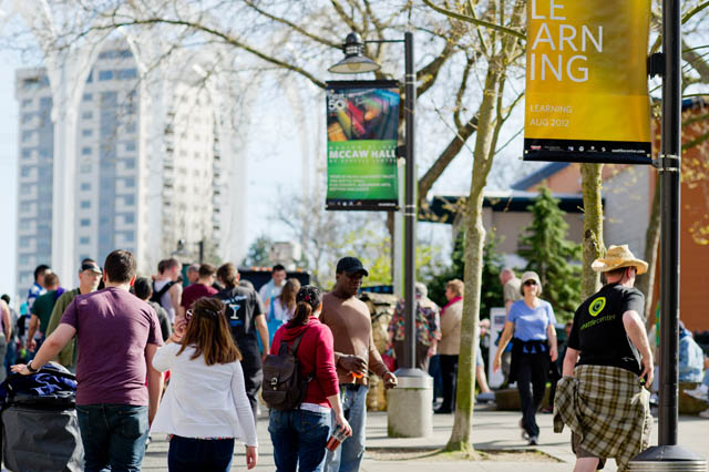 The Seattle Center, site of the former Seattle World's Fair, is a place where people gather from across the city, and where the monk panhandlers have been active.