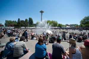 The Seattle Center's International Fountain is a favorite gathering place.