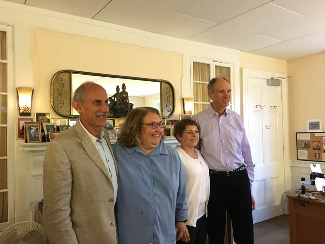 Jacqueline Mandell with the other three original teachers from Insight Meditation Society, during the 40th anniversary event. From left to right: Jack Kornfield, Sharon Salzberg, Jacqueline Mandell, Joseph Goldstein.