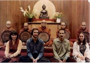 Forty years ago Burmese master Mahasi Sayadaw authorized the same four to teach, in the IMS meditation hall. Then, from left, Sharon Salzberg, Joseph Goldstein, Jack Kornfield, Jacqueline Schwartz Mandell.