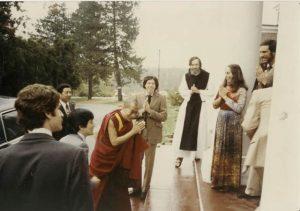 Mandell greeting His Holiness the Dalai Lama, in 1979.