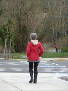 A practitioner learning walking meditation.